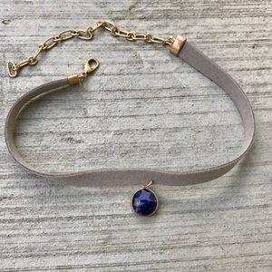 Gray Suede CHOKER Necklace blue pendant